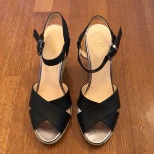 Cole Haan Black Wedge Sandals EUC